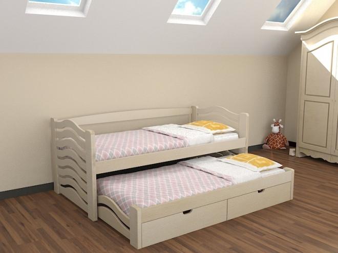 Ліжко дитяче з натурального дерева з додатковим висувним спальним місцем Мальвіна Дрімка