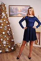 Платье женское с воротником темно-синее