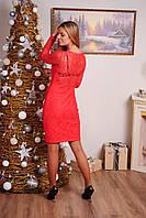 Платье до колена с гипюровой спиной коралл