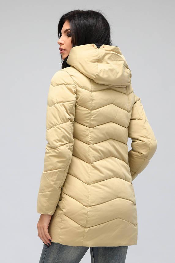 Зимняя женская куртка пуховик бежевая, фото 2