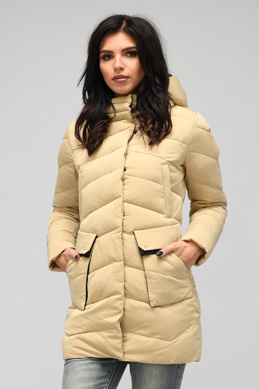 Зимняя женская куртка пуховик бежевая