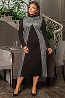 Платье с длинным рукавом размер плюс, фото 1