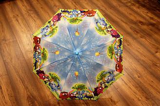Детский зонт трость полуавтомат со свистком и рисунком героев мультсериала  Смешарики