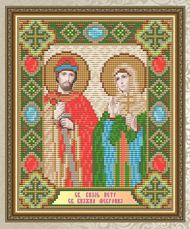 Набор алмазной живописи 24,6х20см - икона Святой князь Петр и Святая княгиня Феврония
