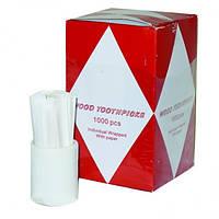 Зубочистки 6,5 см., 1000 шт/уп. в индивидульной бумажной упаковке