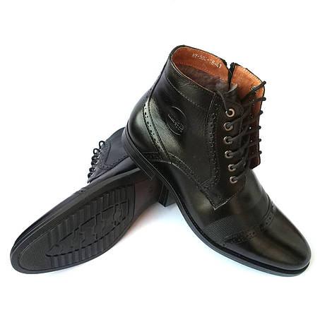 41, 45 Зимняя мужская обувь Норд  высокие, классические, кожаные ботинки,  черного цвета, на 9abe3cb8927
