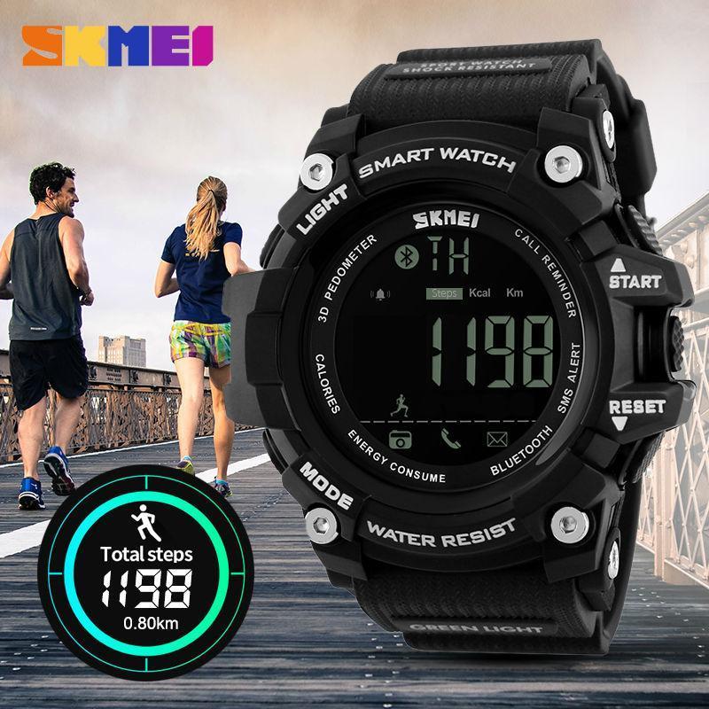 Skmei 1227 черные мужские спортивные смарт часы