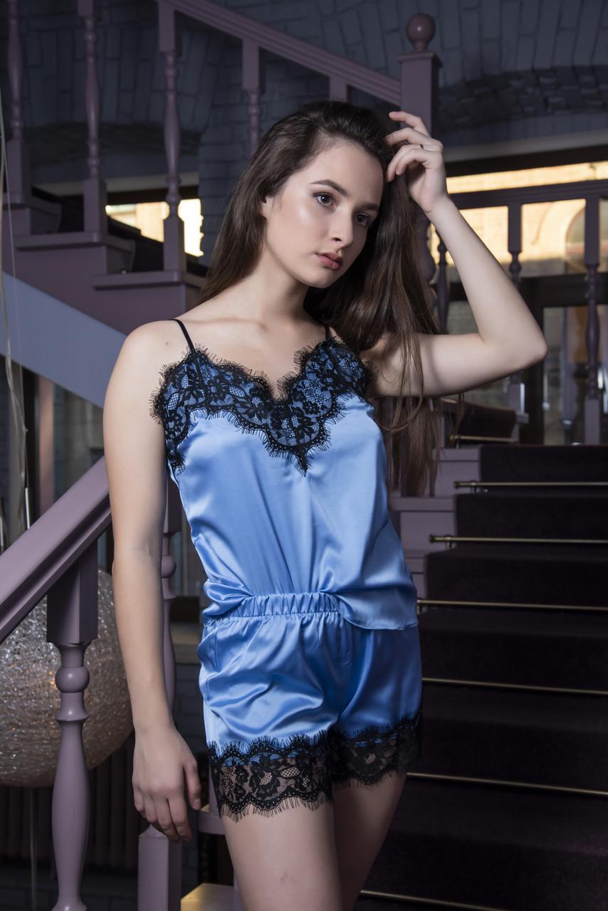 Голубая шелковая пижама  ТМ Orli
