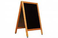 Доска информационная (Штендер) 60х80/110 см. двухсторонний для написания мелом деревянный