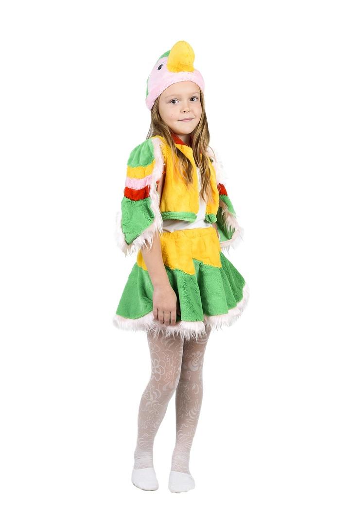 """Детский карнавальный меховой костюм """"Попугай"""" для девочки"""
