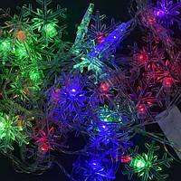 """Гирлянда светодиодная С 23458 """"Снежинка"""" (100) длина 4,5 метров, 28 ламп., цветная"""