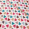 Муслин с яркими разноцветными сердечками, ширина 80 см