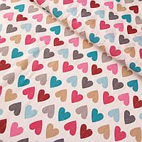 Муслин с яркими разноцветными сердечками, ширина 80 см, фото 1