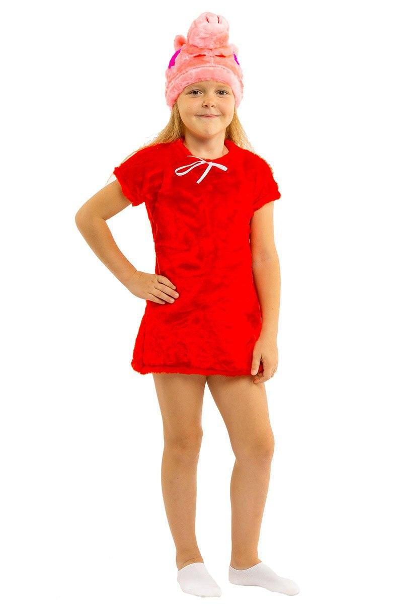 """Детский карнавальный меховой костюм """"Свинка Пеппа"""" для девочки"""