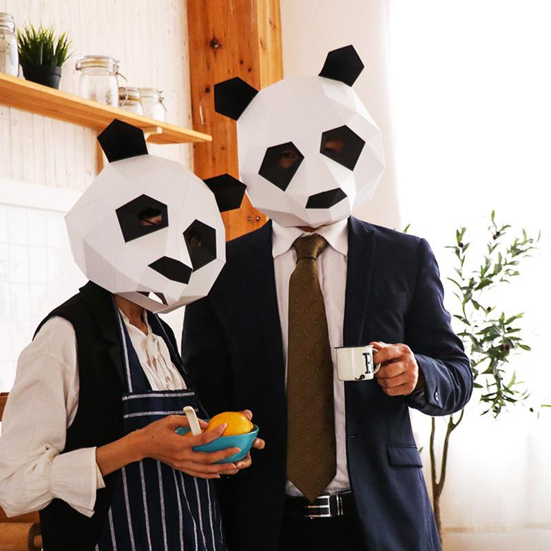 Маска панды из картона, ручная сборка. Голова панды бумажная для взрослых
