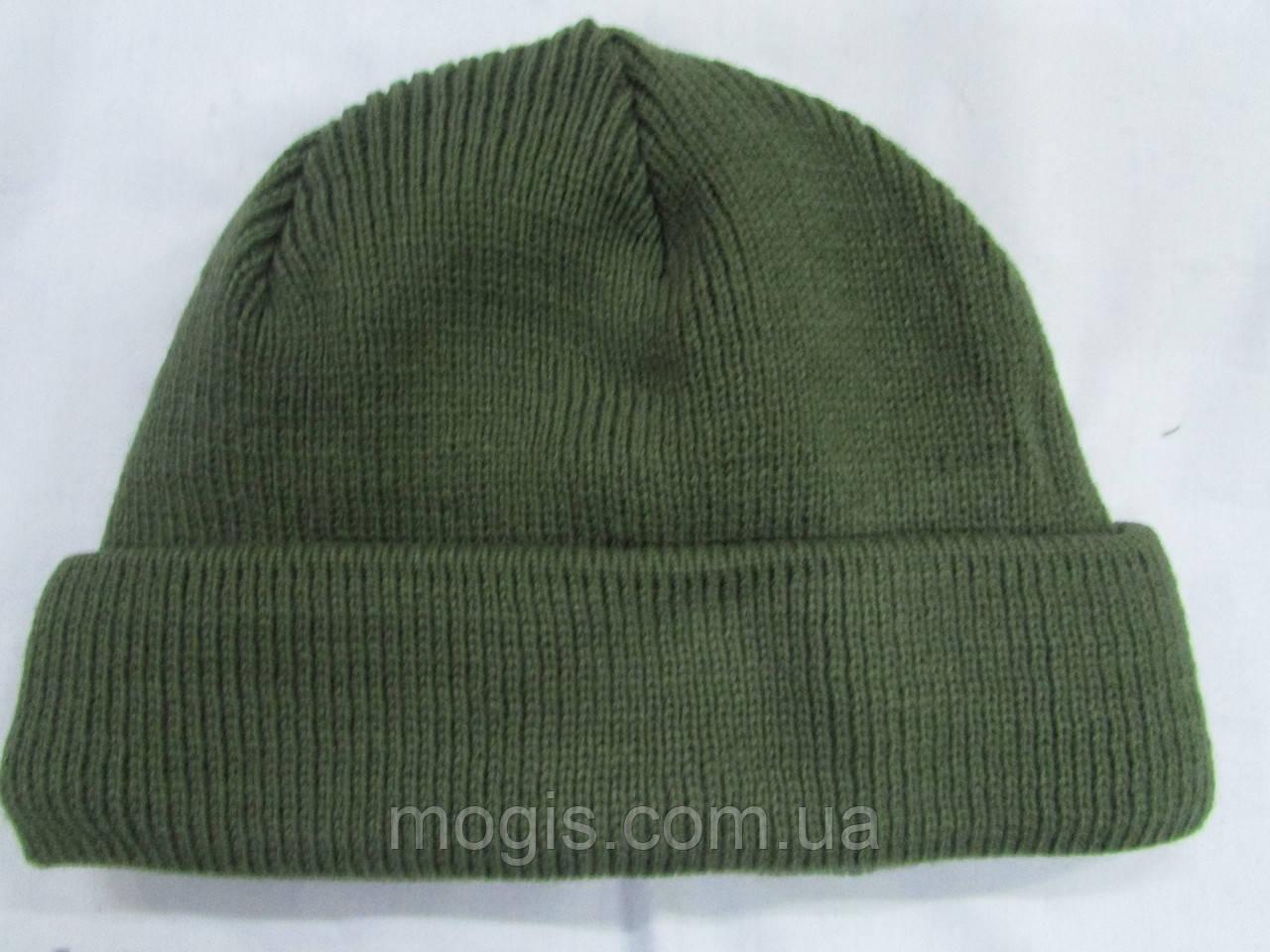 Вязаная шапка грубой вязки олива