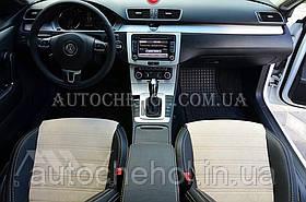 Авточехлы из алькантары и арпатеки на сиденья Volkswagen Passat CC, Leather StyLe, цельная спинка, светлые вставки
