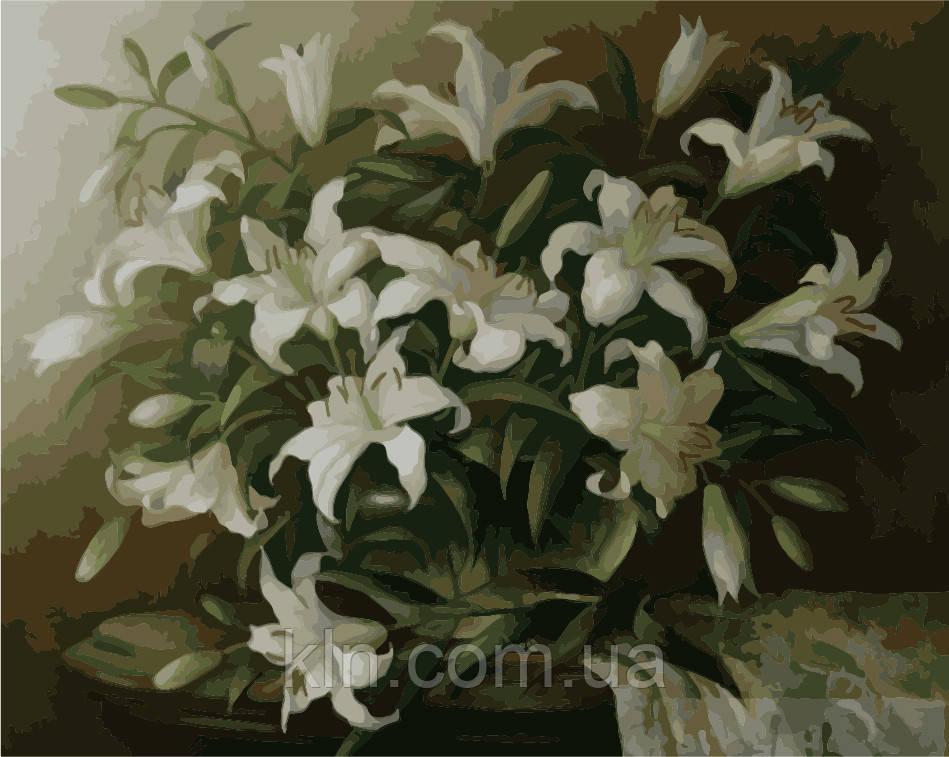 Набор для рисование картин по номерам Menglei Белые лилии (MG1065) 40 х 50 см 950 цветы натюрморты