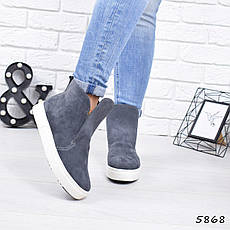 """Ботинки, ботильоны серые ЗИМА """"Jill"""" НАТУРАЛЬНАЯ ЗАМША, повседневная, теплая, зимняя женская обувь, фото 3"""
