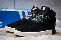 Зимние кроссовки на меху в стиле Adidas Tubular Invader Strap (реплика), черные (30442)