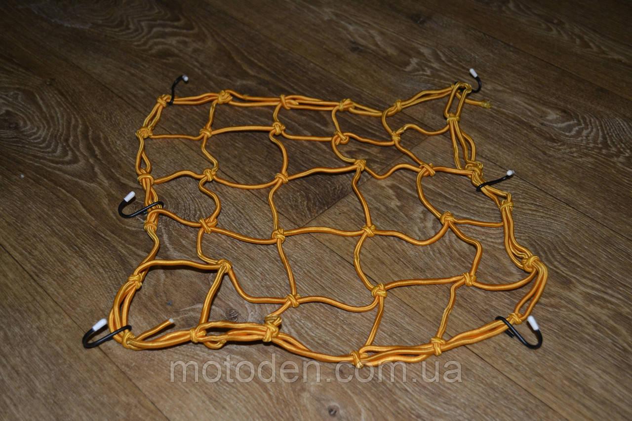 Багажная сетка-паук для мотоцикла, скутера 40*40 см желтая