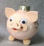 Формовая стеклянная игрушка Свинка Пончик, фото 1