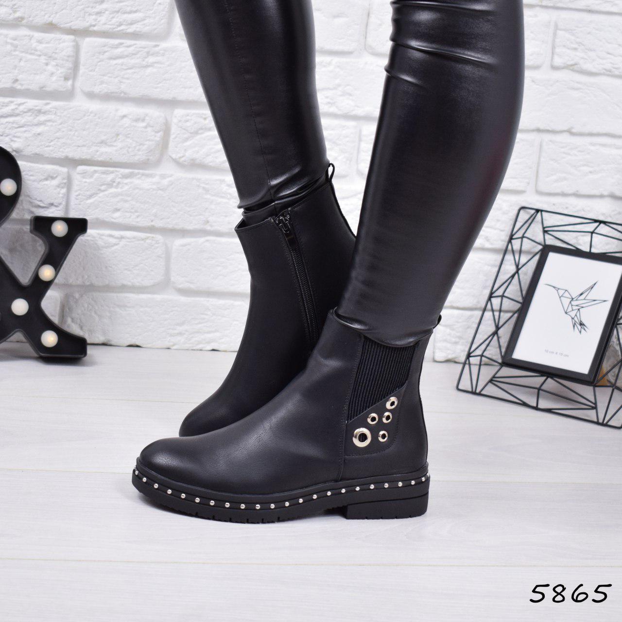"""Ботинки, ботильоны черные ЗИМА """"Bonty"""" эко кожа, повседневная, зимняя, теплая, женская обувь"""