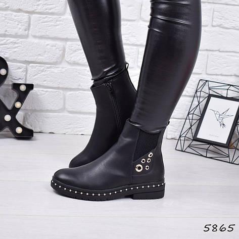 """Ботинки, ботильоны черные ЗИМА """"Bonty"""" эко кожа, повседневная, зимняя, теплая, женская обувь, фото 2"""