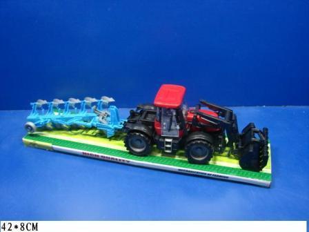 Трактор інерційний 6033A з причепом 2 кольори під слюдою 42*8 см