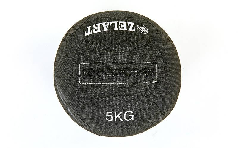 Мяч медицинский (волбол) в кевларовой оболочке WALL BALL 5кг (наполнитель-метал. гранулы, диаметр 35см)