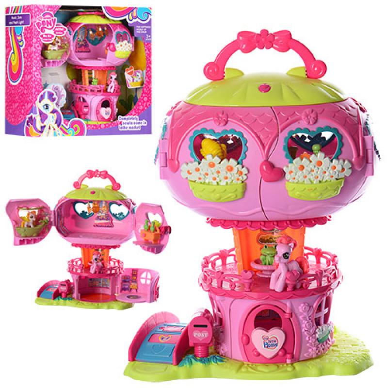 Детский Игровой набор домик ЛитлПони (my litle pony) розовый сказочный дворец, звук, свет, 799