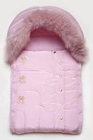 Конверт для новорожденного с опушкой (розовый мишки)
