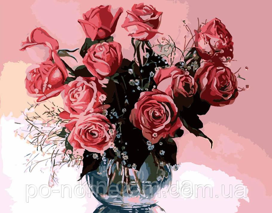 Раскраска картин по номерам Menglei Розовые розы в вазе худ. Чачева, Татьяна (MG1073) 40 х 50 см
