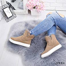"""Ботинки, ботильоны бежевые ЗИМА """"Sally"""" эко замша, повседневная, зимняя, теплая, женская обувь, фото 3"""
