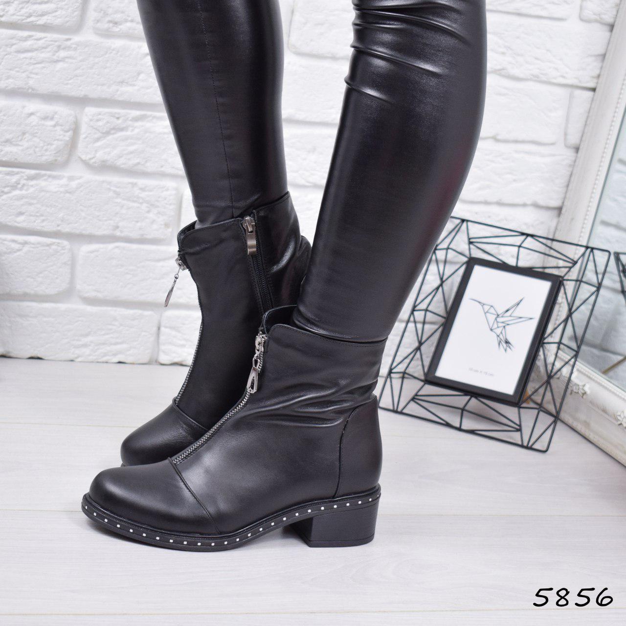 """Ботинки, ботильоны черные """"Q&Q"""" НАТУРАЛЬНАЯ КОЖА, повседневная, демисезонная, осенняя, женская обувь"""