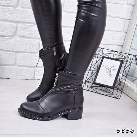 """Ботинки, ботильоны черные """"Q&Q"""" НАТУРАЛЬНАЯ КОЖА, повседневная, демисезонная, осенняя, женская обувь, фото 2"""