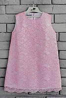 Гипюровое детское платье код: 7004, розового цвета, размеры: от 80 до 140