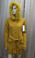 Пальто вязаное с поясом