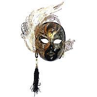 Венецианская маска «Гламур», черная 30х29 см