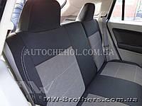Качественные автомобильные чехлы на сиденья Dodge Caliber,серая нить, спинка горбы, Premium style