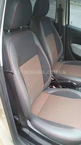 Качественные автомобильные чехлы на сиденья Fiat Linea 2012, Premium style, красная нить