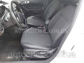 Качественные автомобильные чехлы на сиденья Ford Fiesta 2015,серая нить, Premium style