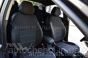 Качественные автомобильные чехлы на сиденья Peugeot 5008 2017,серая нить, Premium style