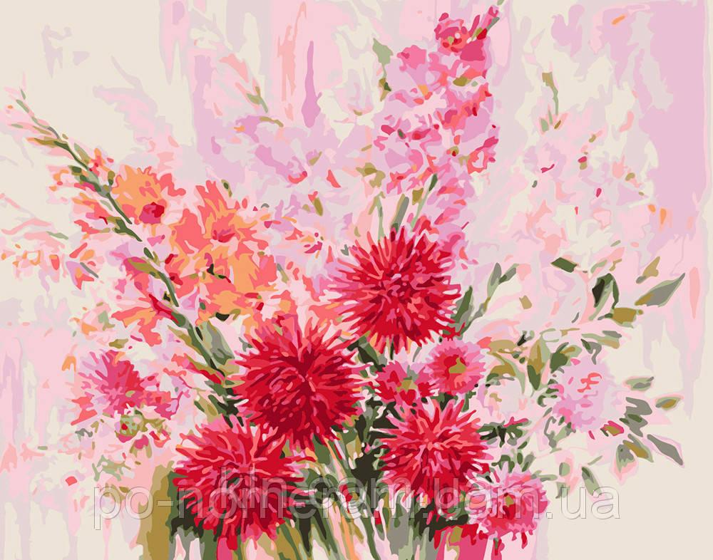 Раскраска по номерам на холсте Menglei MG1042 Нежные цветы 40 х 50 см 950 цветы