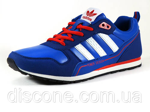 Кроссовки спортивные мужские Adidas Power Design синие/ замшевые вставки