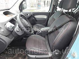 Качественные автомобильные чехлы на сиденья Renault Kangoo II, красная нить, Premium style