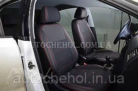Качественные автомобильные чехлы на сиденья Seat Ibiza, красная нить, Premium style