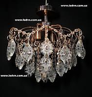 Хрустальная потолочная люстра в золоте на 4 лампочки
