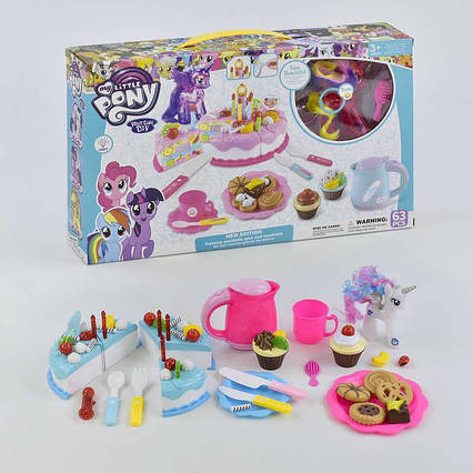 """Набор Пони с посудкой """"Праздничный торт"""" 1088 (36) световые эффекты, 2 вида, в коробке"""