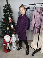 Вязаный кардиган с воротником для девочки под пояс цвет фиолетовый